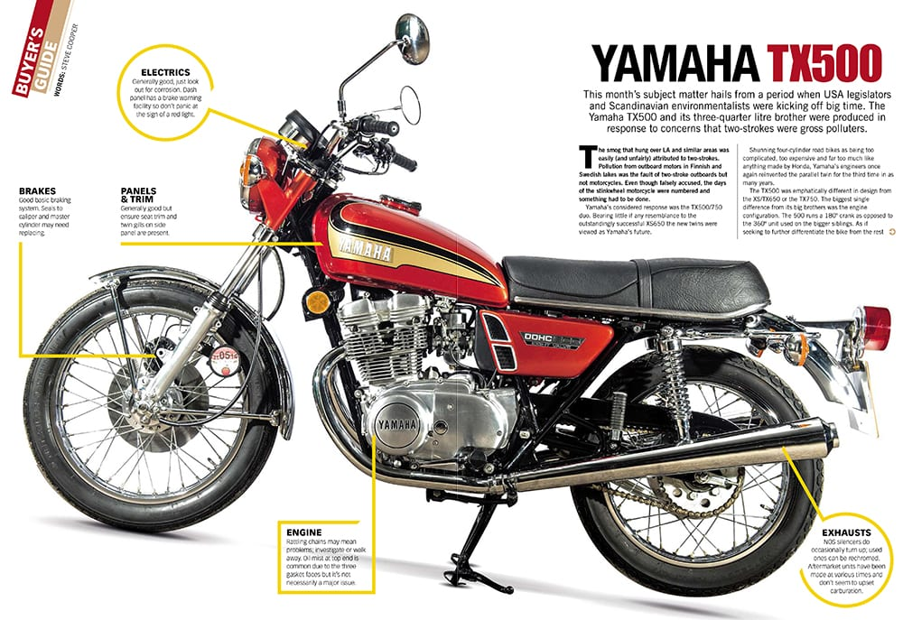 At a glance guide - Yamaha TX500 - Classic Motorcycle Mechanics