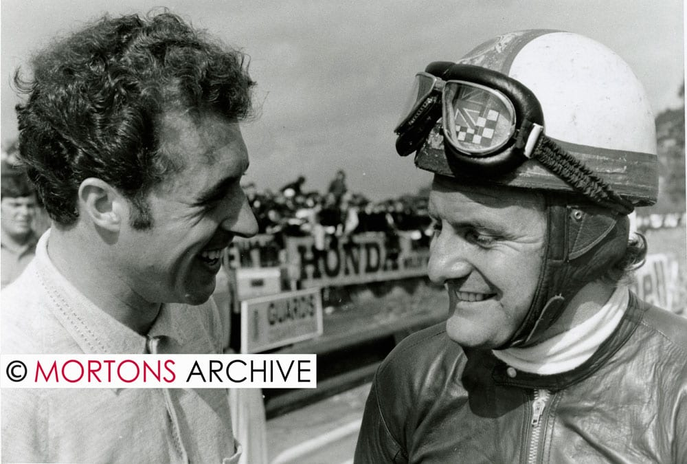 Taken at Mallory Park in September 1969, Colin Seeley is seen with Mike Hailwood. Photo: Mortons Archive.