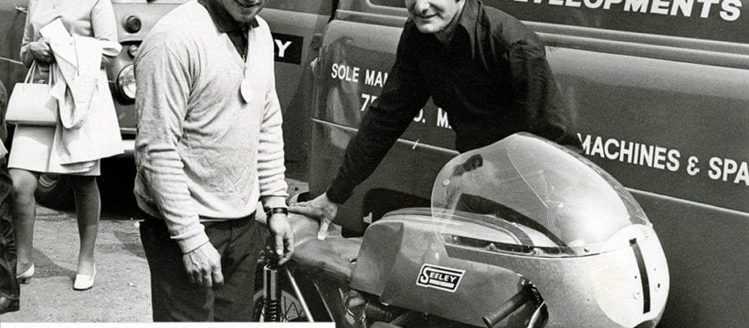 Colin Seeley with Wally Rawlings in the chair, third in the 1962 Sidecar TT on his G50. Photo: Mortons Archive.