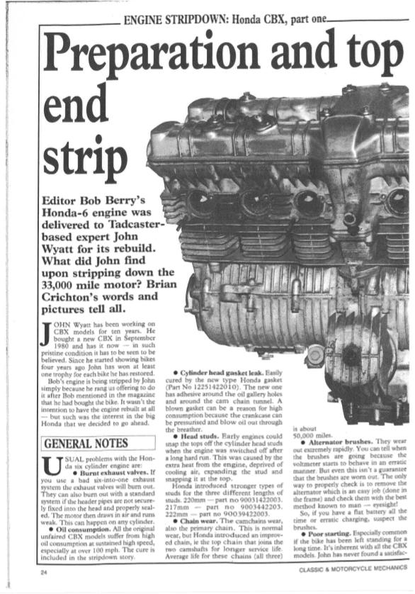 Honda CBX Engine Stripdown