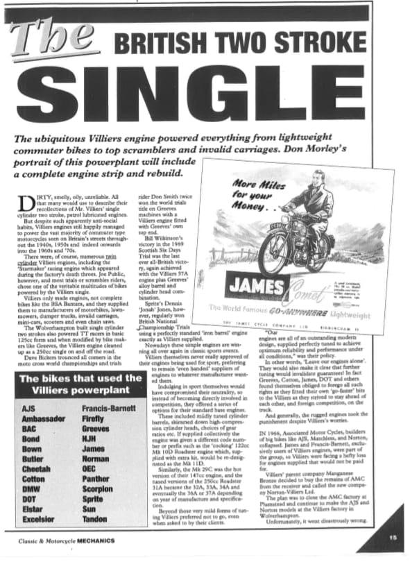 Villiers Singles Model Guide